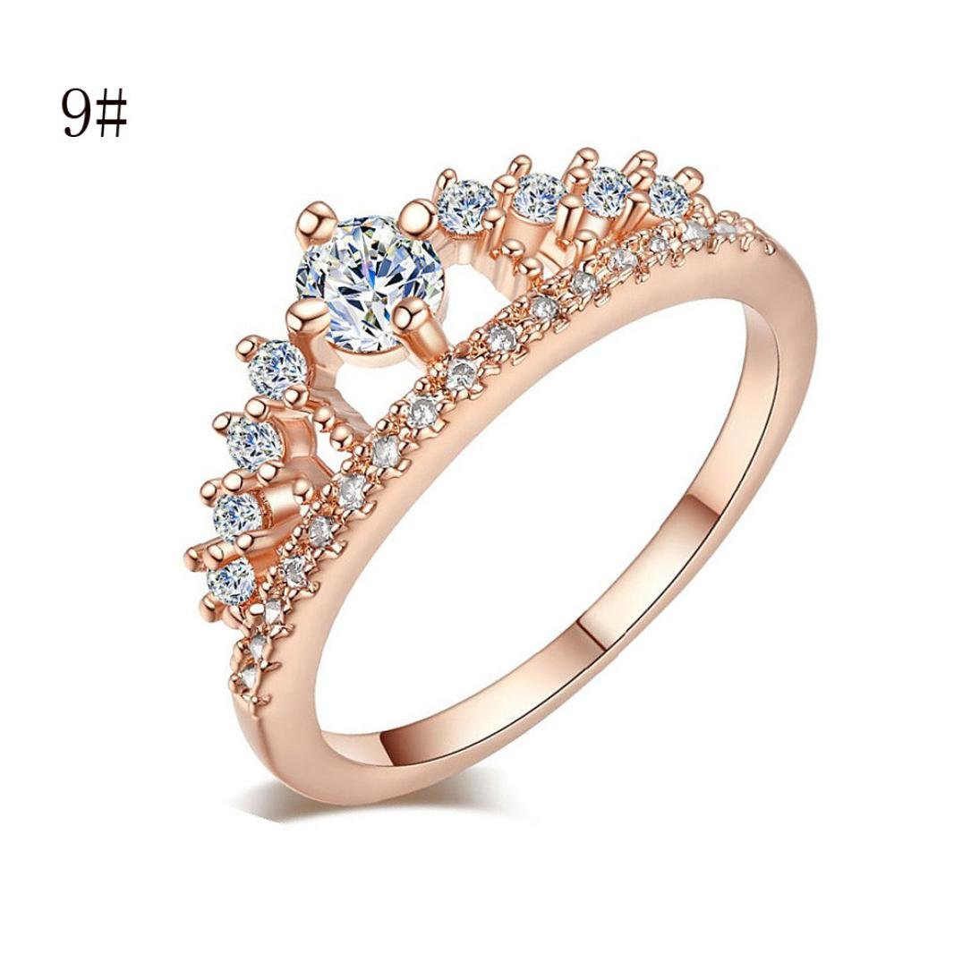 Lady Jewelry Ring,Hemlock Women Girl's Simple Pretty Crown Crystal Ring Princess Fingers Rings (Rose Gold-9)