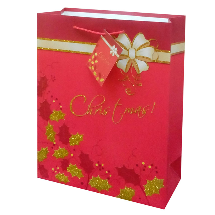 Promotional High Quality Lovely Splicing Christmas Chocolates Paper Square Shopping Bags