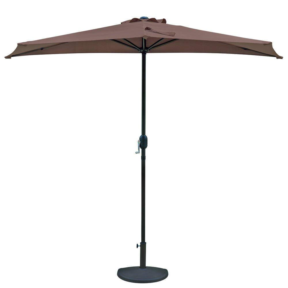 Patio Umbrella. Large Outdoor Adjustable Parasol W/Cantilever Base Stand - Best Sun Uv Protection For Garden, Patio, Lawn, Yard, Beach, Pool. 9-ft Half Umbrella In Coffee Polyester