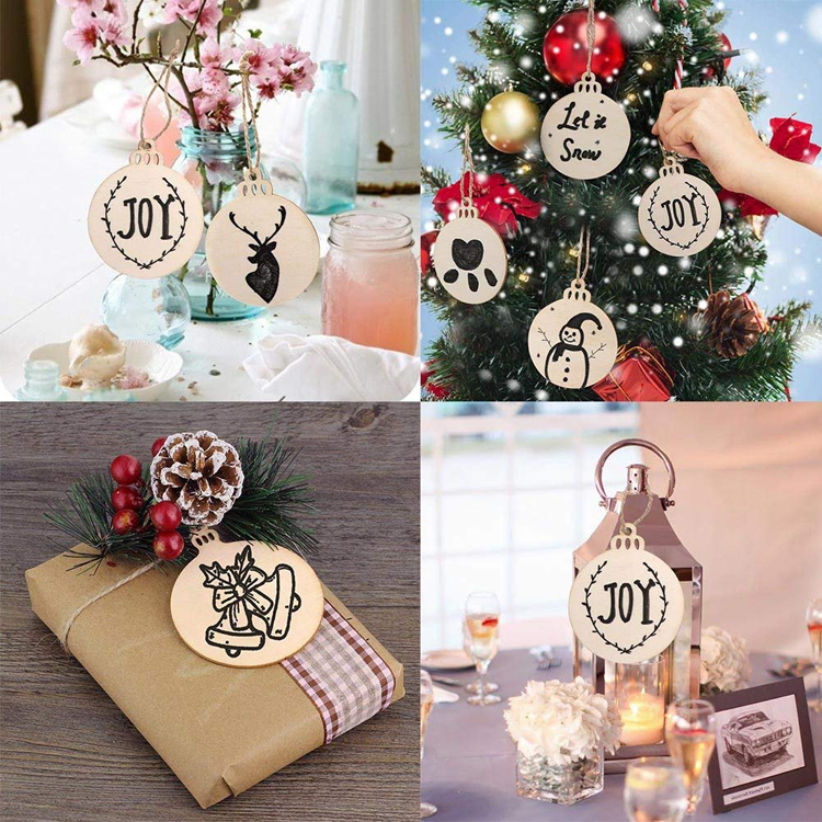 Party Saying Round Wooden Discs Unfinished Predrilled Natural Wood Slices DIY Christmas Ornaments Hanging Decorations