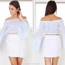 Wholesale ladies skirts and blouses white sexy short mini skirt