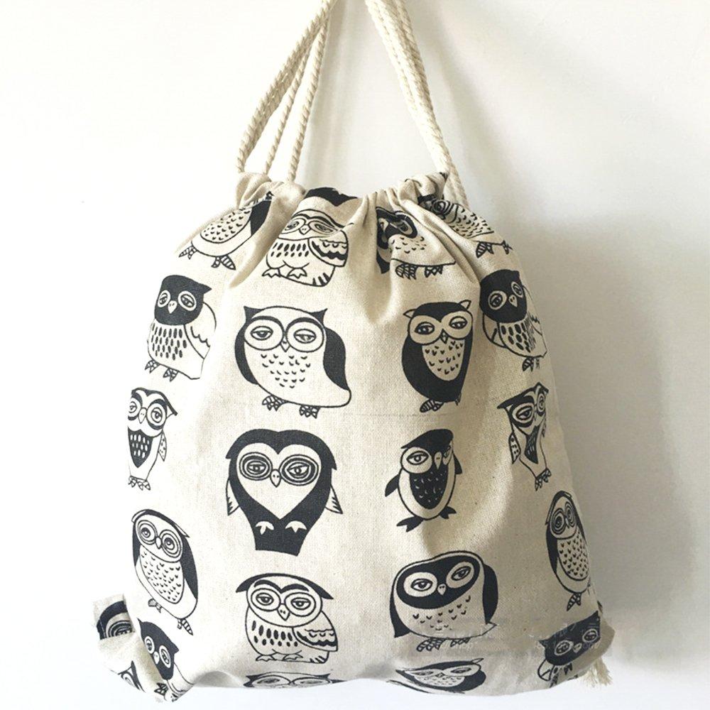 Canvas Drawstring Bag, Gym Sackpack Owl Original Bag Print Drawstring Backpack Shoulder Bags Gym Bag for Men and Women,15 x 13 inch