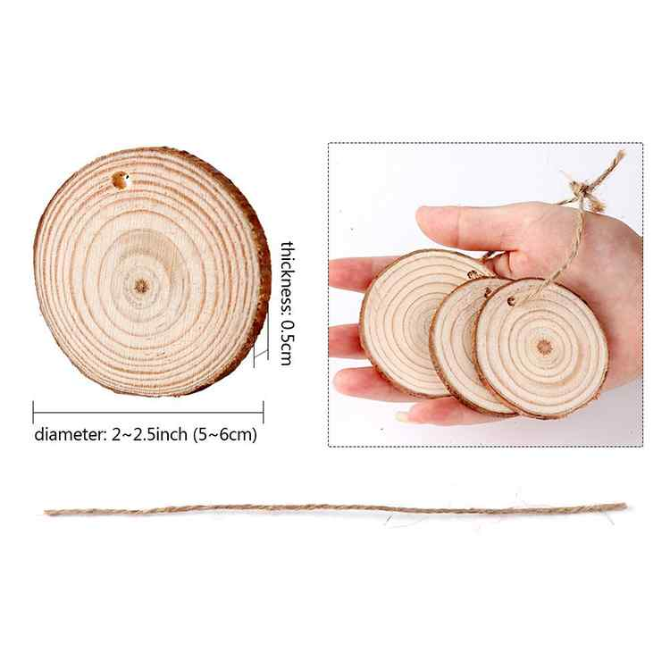 Craft Wooden Slice DIY Decoration Circles with Bark