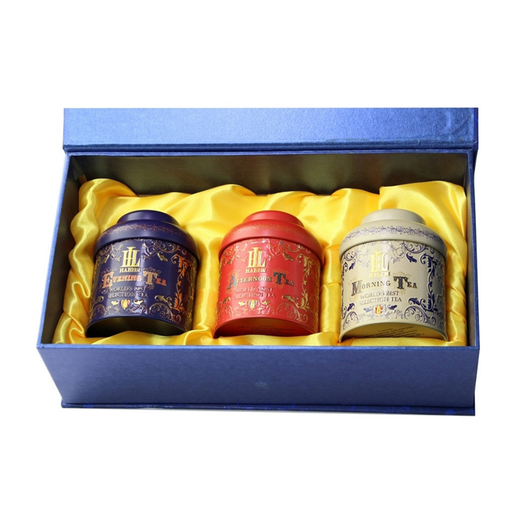 Exquisite vintage metal gift box coffee tea canister set decorative tea can
