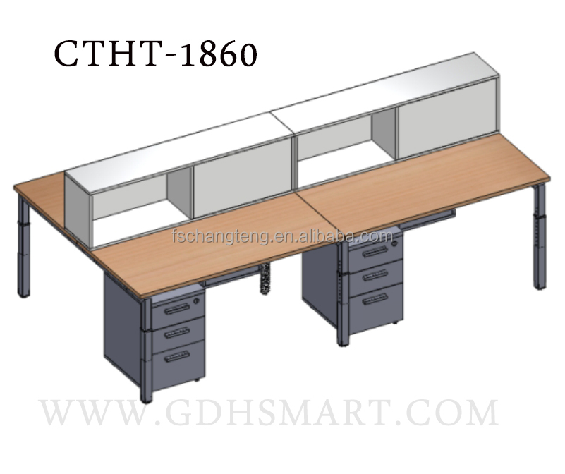 Conducive Front Office Table Manual Screw Height Adjustable Table