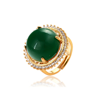 13161- Xuping Jewelry lady's noble ring alloy with jade stone
