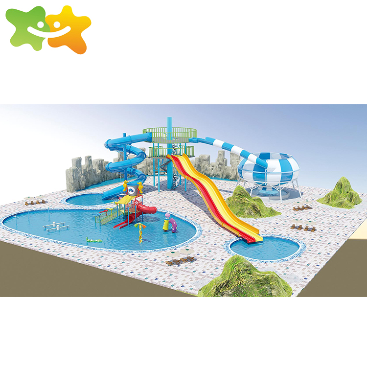 Deck rubber aqua park playground safety loops water slide