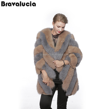 Fur High Quality long section Fox Fur Coat Winter Coats For Women with sleeve and length