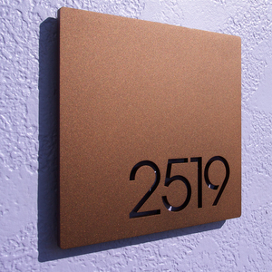 Custom Modernist Floating House Door Numbers in Stainless Steel plaque sign