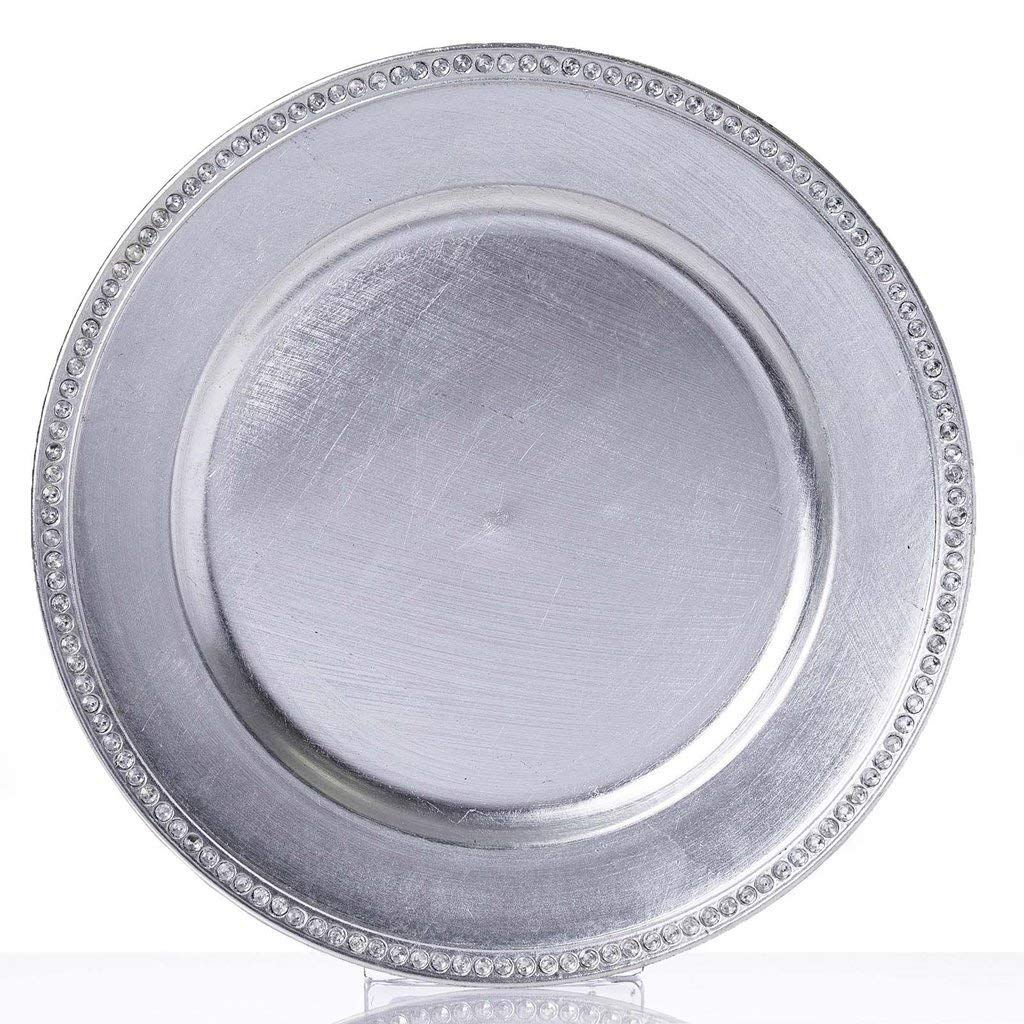 """Tableclothsfactory 13"""" Round Silver Crystal Beaded Acrylic Charger Plates Wedding Party Dinner Servers - Set of 24"""