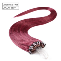 micro ring red Wholesale factory price unprocessed micro ring hair extensions for blacks