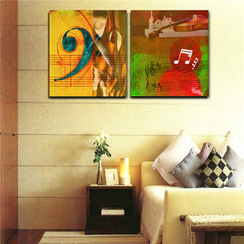 Violin Musical Notes On The Staff Oil Painting Canvas Abstract Wall ...