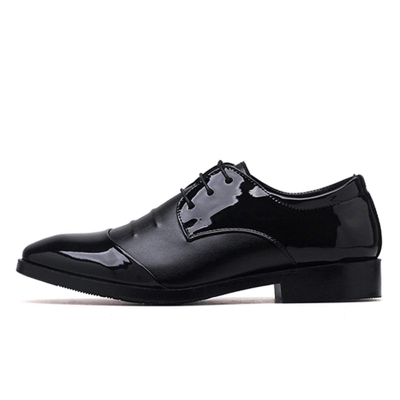Memoriesed Men Dress Shoes Plus Size 39-48 Men Business Flat Shoes Black Brown Pointed Toe,Black,6.5
