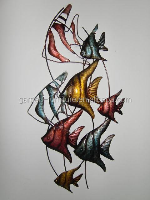 Handicraft animal sculpture home ornament hanging fish decoration large metal - Decoration mural en metal ...
