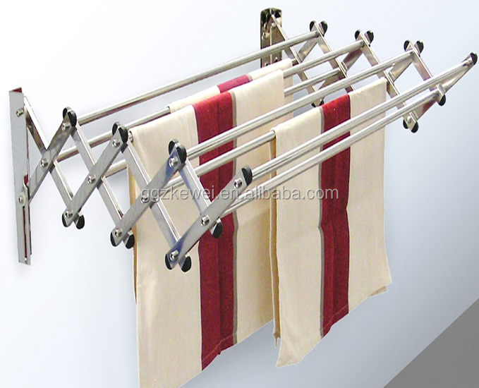 Stainless steel wall mounted rack for drying towels, retractable type  save more space , 8 pipe , good for family