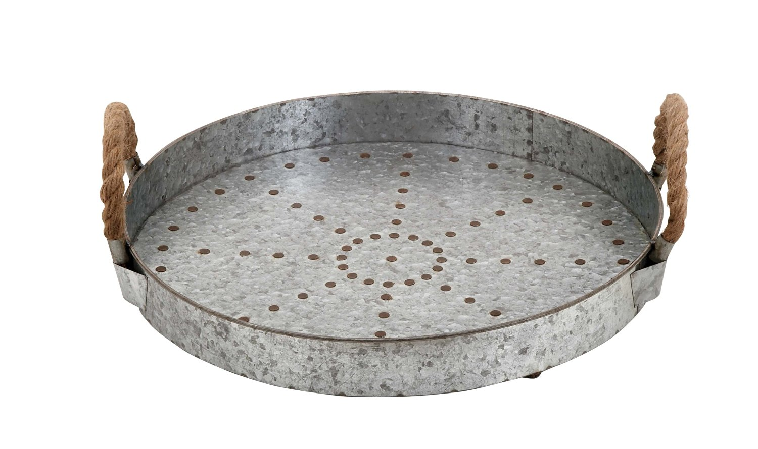 Plutus Brands Galvanized Rope Tray Designed with Great Finesse