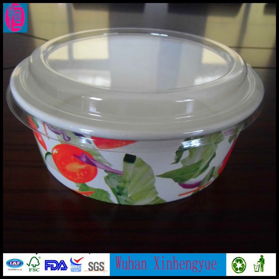 Wuhan Disposable Paper Salad Bowl Container with PET Lid