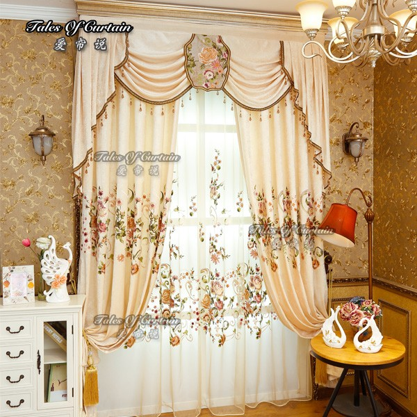 Fancy Curtains With Delicate Flower Embroidery Fabric Curtain Factory For Ready Made