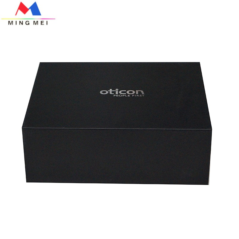 High-end luxury medium black paper gift book-shape box with insert---lower price