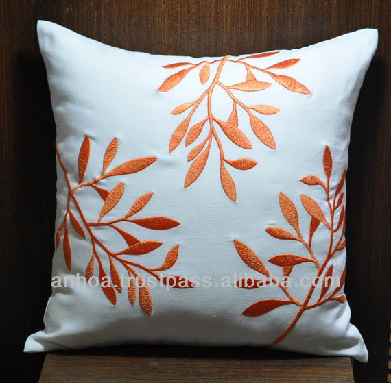 Superieur Orange Leaf Embroidered Linen Cushion Cover, Pillowcase