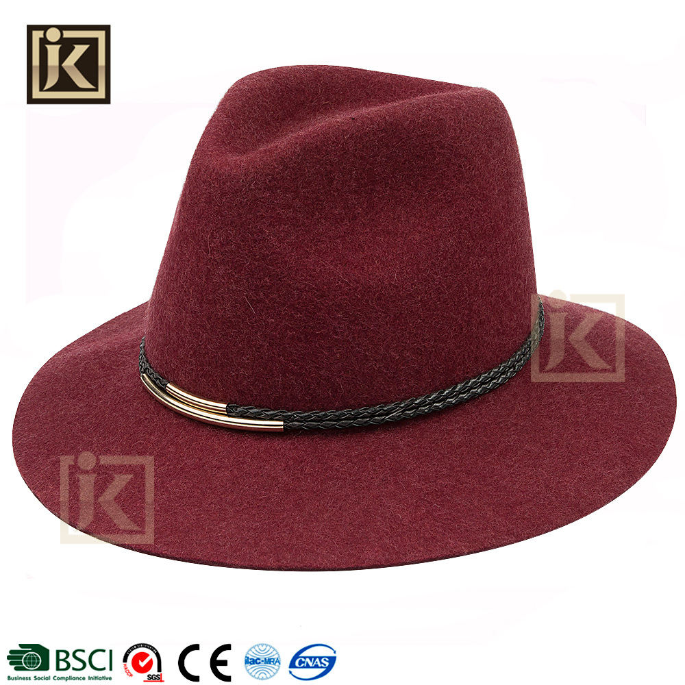 JAKIJAYI fashion New style wool felt women red hat fedora hats fedora