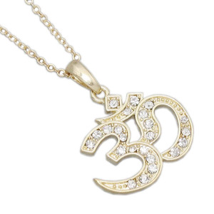 New arrival fashion 16k gold plated crystal om charms wholesale for necklace