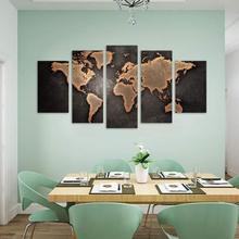 5 Panels World Map Picture Print Painting 현대 Canvas 벽 Art 대 한 벽 Decor 홈 장식 작품