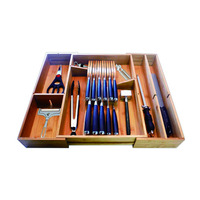 New Upgrade Expandable Bamboo Kitchen Cutlery Tray with Knife Block Drawer Organizer and Holder