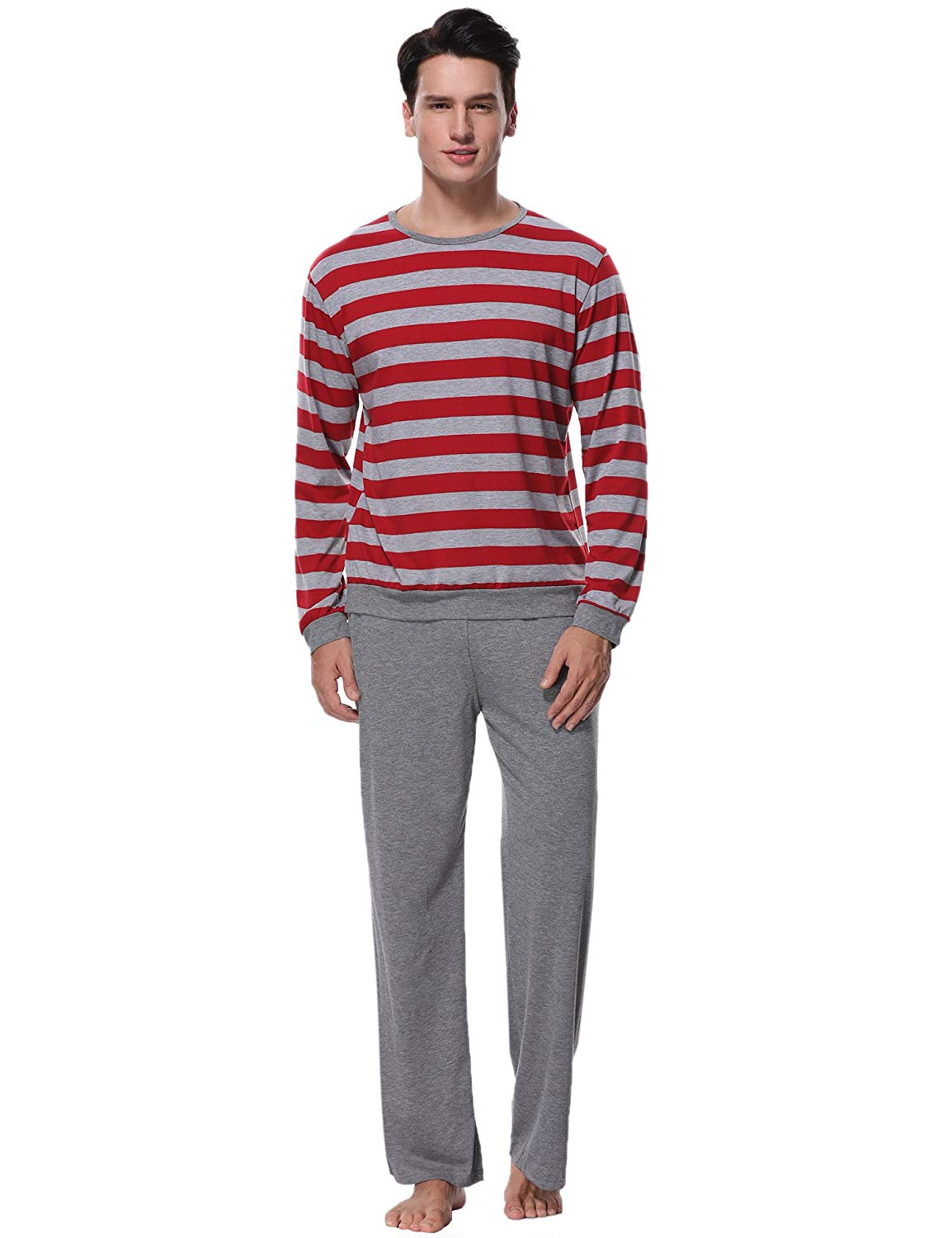 1d776c0619 Get Quotations · Aibrou Mens Cotton Pajama Long Sleeve Striped Top and  Bottom Pajama Set