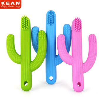 BPA free chew toy sensory silicone baby cactus teether