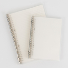 transparent hardcover A5 size plain ruled squared spiral notebook binder clip filler papers