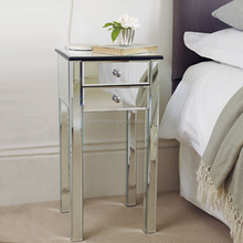 Venetian Style Silver Mirror Nightstand with 2 Drawers
