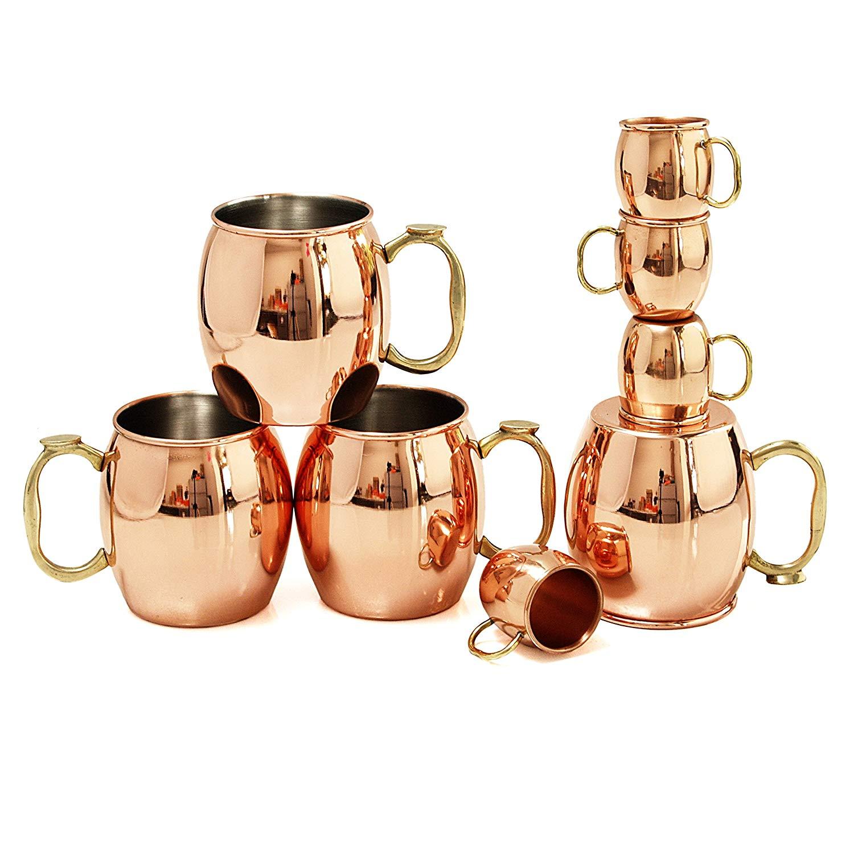 Oggi Moscow Mule 8 Piece Copper-Plated Drinking Mug and Shot Mug Set