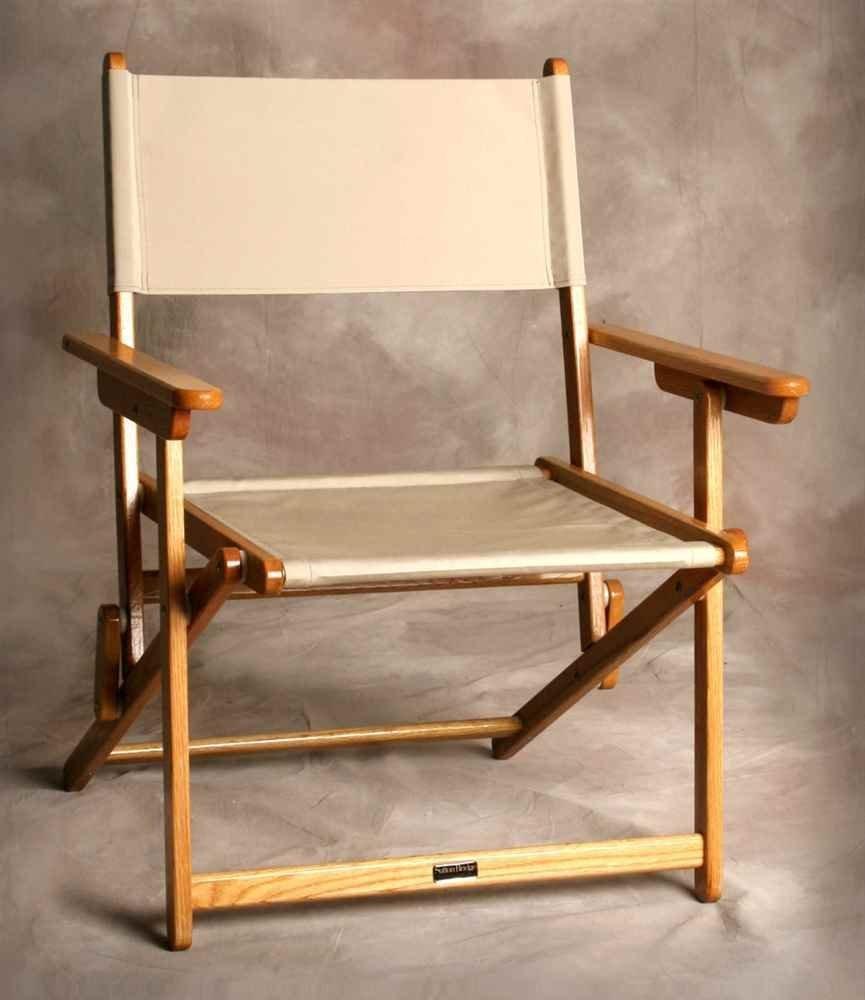 Sutton Bridge Portsmouth Oak Folding Director Chair in Linen Color
