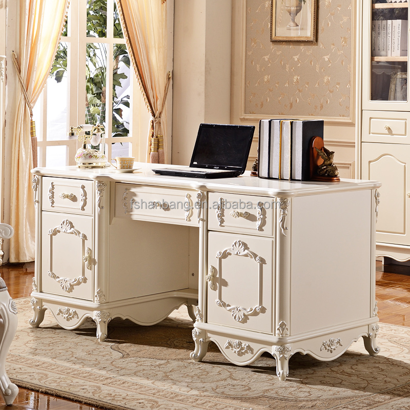 Perfect French Baroque Style Executive Office Desk In White And Gold Or Silver