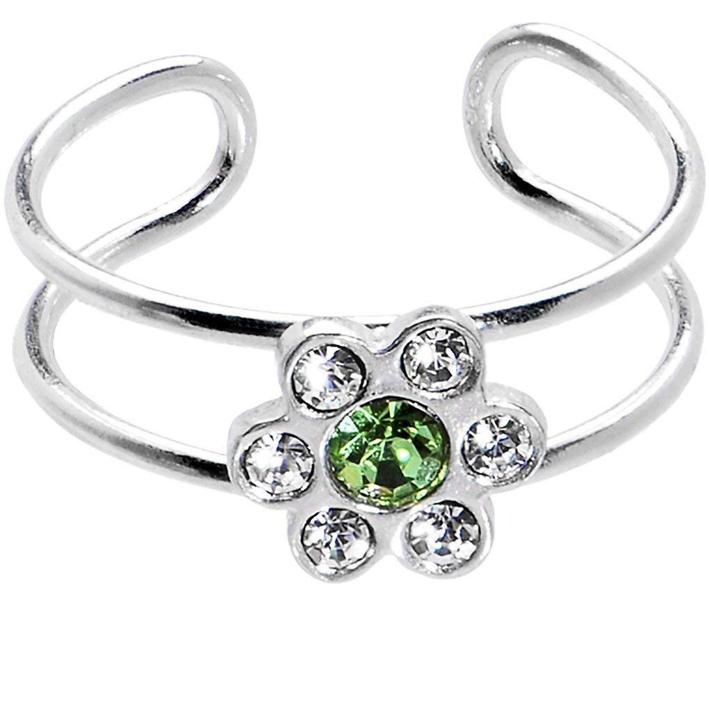 Body Candy Sterling Silver 925 Clear Green Flower Toe Ring