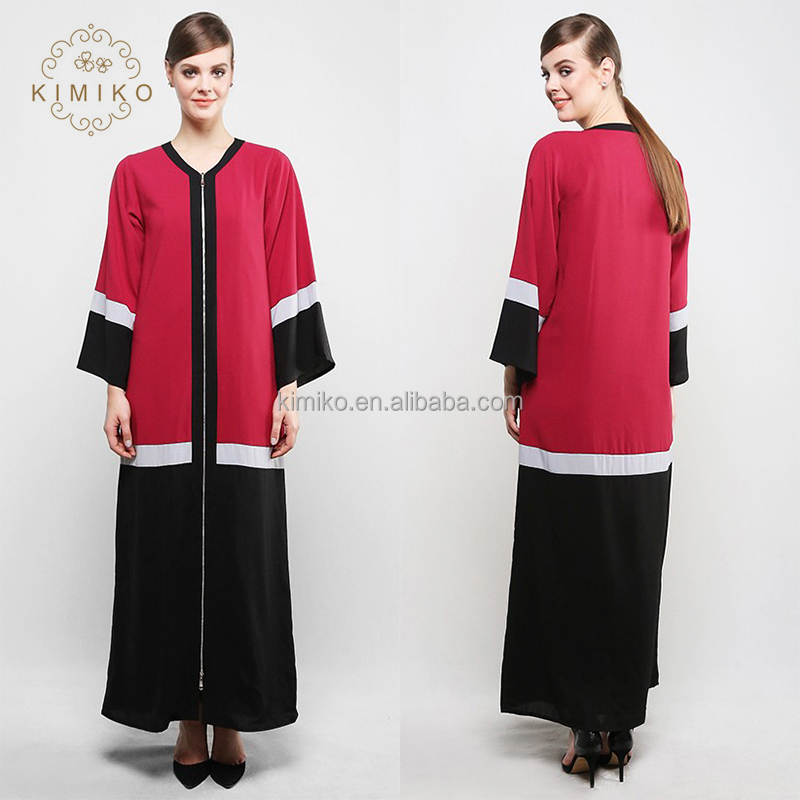 Wholesale Price Simple Contrast Color Muslim Women Abaya With Front Metal Zipper
