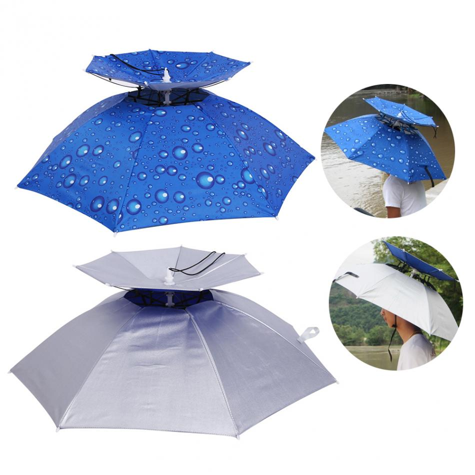 New design 65cm & 75cm foldable vented double canopy sunproof and waterproof umbrella hat manual open