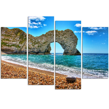 4 Panel Seascape Canvas Wall Art/durdle Door Picture Print On Canvas ...