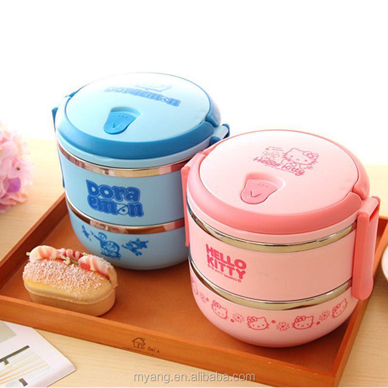 2015 Wholesale cartoon two layer thermal insulation lunch box /lovely thermal insulation lunch box for kid, heat
