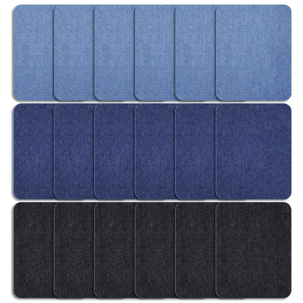 Coopay 18 Pieces Iron On Patches with 3 Assorted Colors, Iron-On Repair Kit Iron On Denim Patches, 5 by 3-3/4 Inch