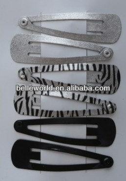 waterdrop Card of 6 Silv/zebra print and black 5cm hairclip