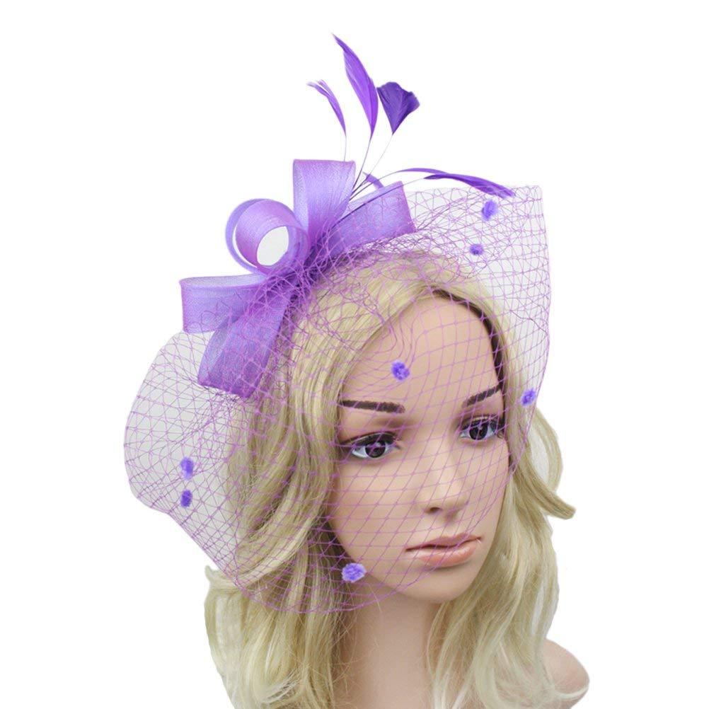 c88529a089e Gerilea Lady Black Feather Wedding Fascinator Veil Hat For Party Bridal  Headwear
