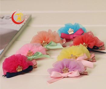 39e13425e5db7 New design shiny crown hair clip girls hair accessories children accessories  ribbon baby flower hair clips