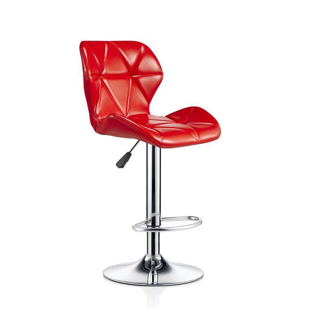 ZRXian-Barstools Bar Stools Bar Kitchen Breakfast Stool Padded Dining Chair with Backrest Red PU Seat Bar Chair High Stool Swivel Counter Chair Adjustable Height