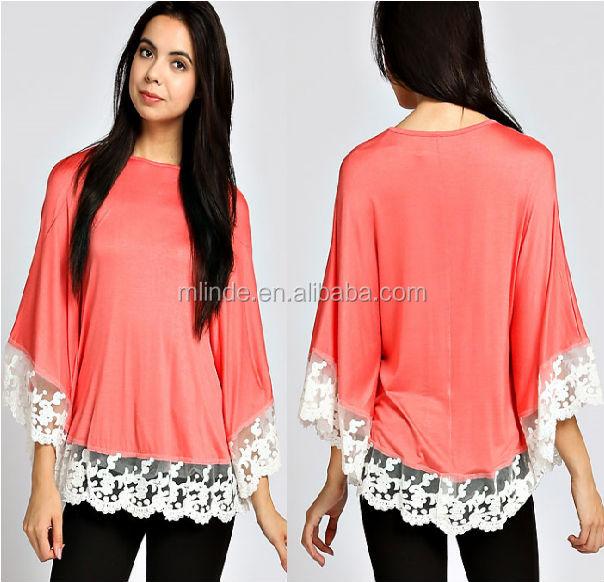 Fashion Women Ladies Wholesale Tops Lace Trim Poncho Top Buy Lace