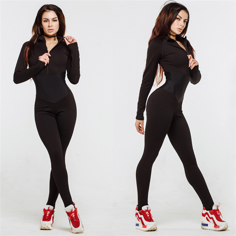 4ce11a816983 Women s Yoga Sets Bodysuit Casual Fashion Fitness Jumpsuit Long Sleeve Full  Length Slim Skinny Sport Tights Zipper Stracksuit