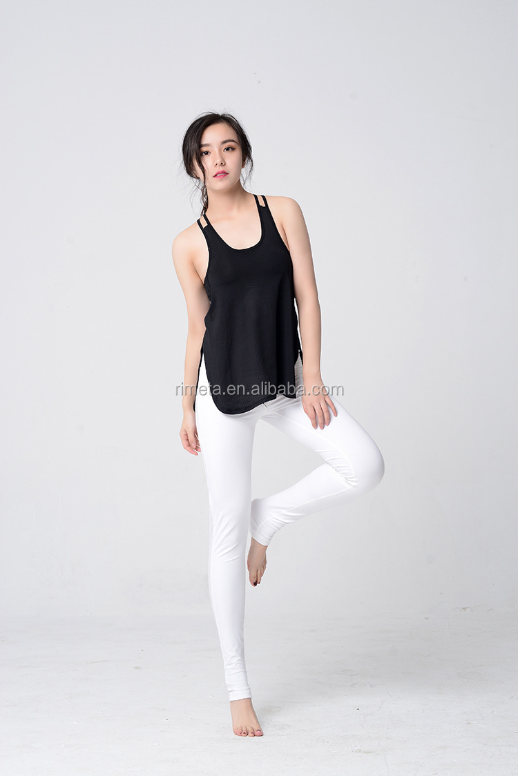 Women Breathable Loose Back Hollow Out Yoga Shirt Sports Wear Fitness Tank Tops