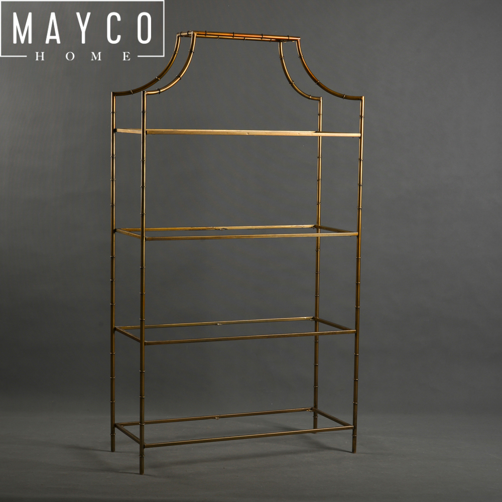 Gold And Gl 4 Tier Metal Bookcase