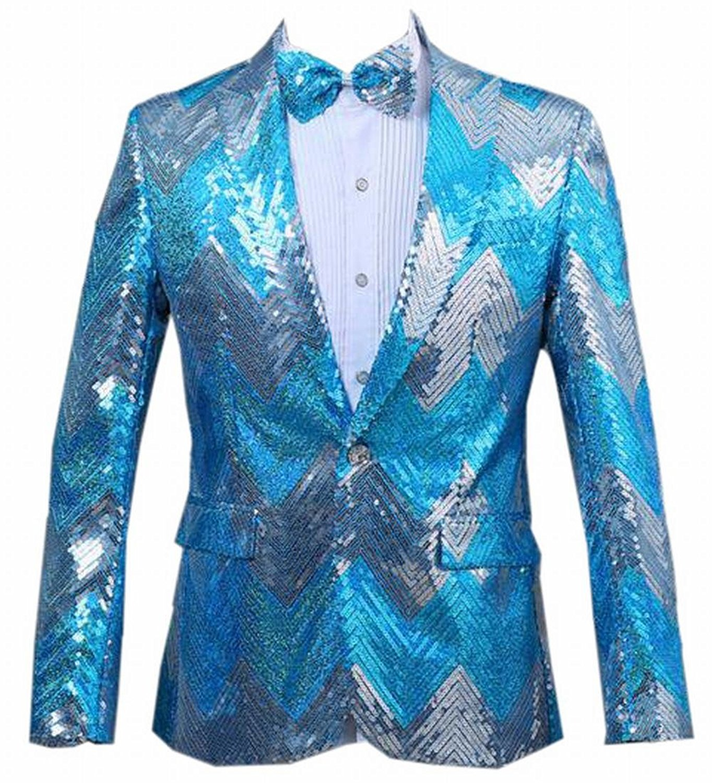 eb0f93d64e04 Get Quotations · Zago Mens Sequin Performance Glitter One Button Suit  Blazer Jacket Coat